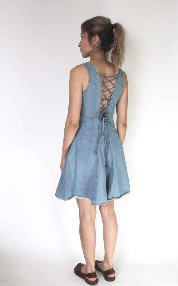 Vintage 1990s Dress | 1990s Denim Dress | Short De