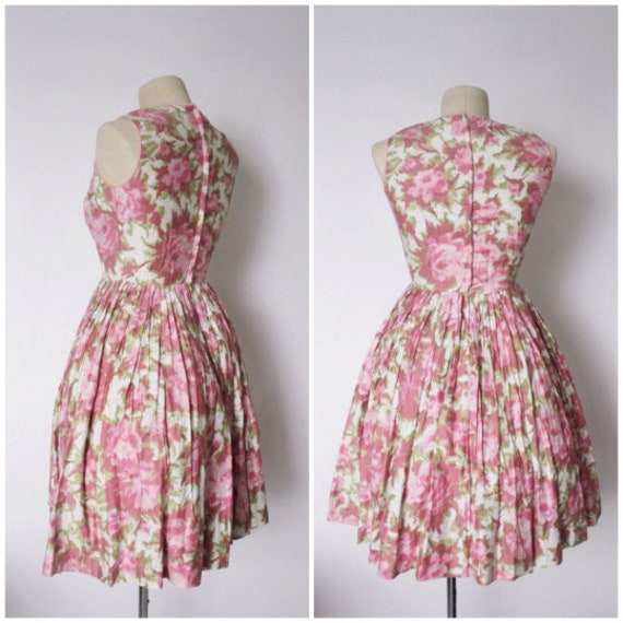 Vintage 1950s Dress   Rose Print Dress   1950s Ro… - image 4