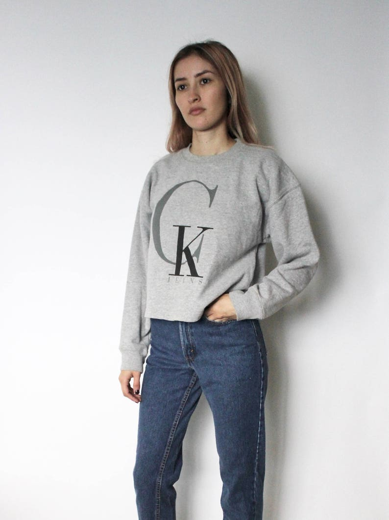 3b761b1bba Vintage 1990s Calvin Klein Sweater CK Sweatshirt Cropped
