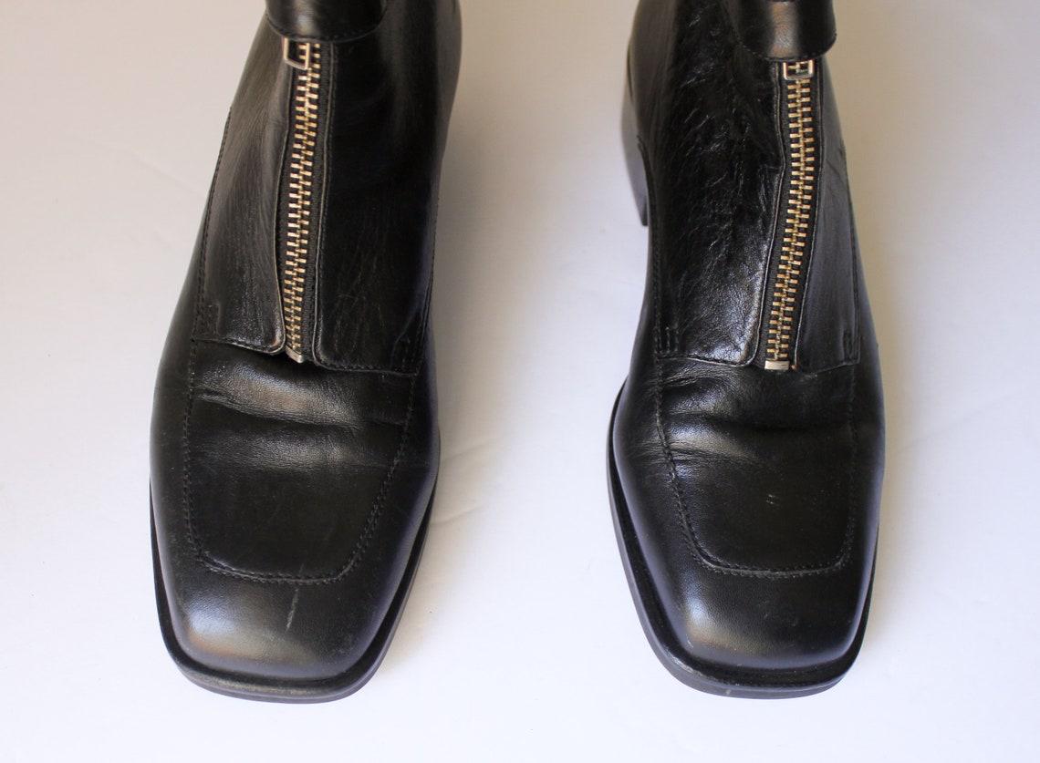 Vintage 1990s Anne Klein Botines Negros 5.5 Botas de Tobillo Negros ? Botas con cremallera