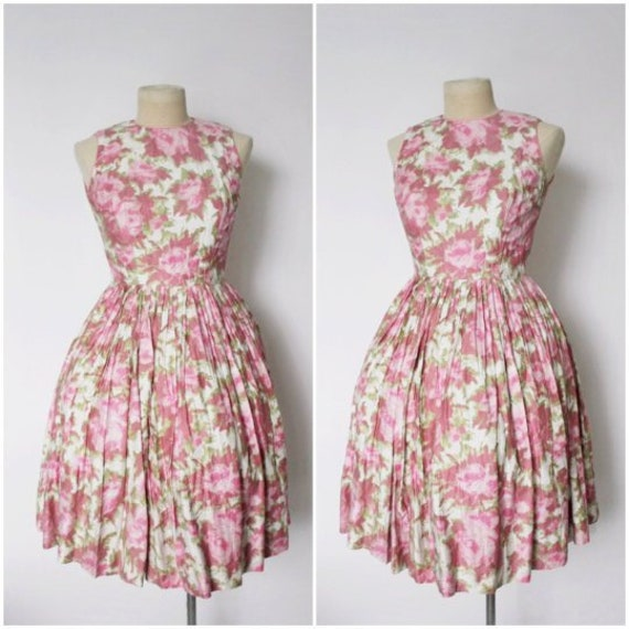 Vintage 1950s Dress | Rose Print Dress | 1950s Ros