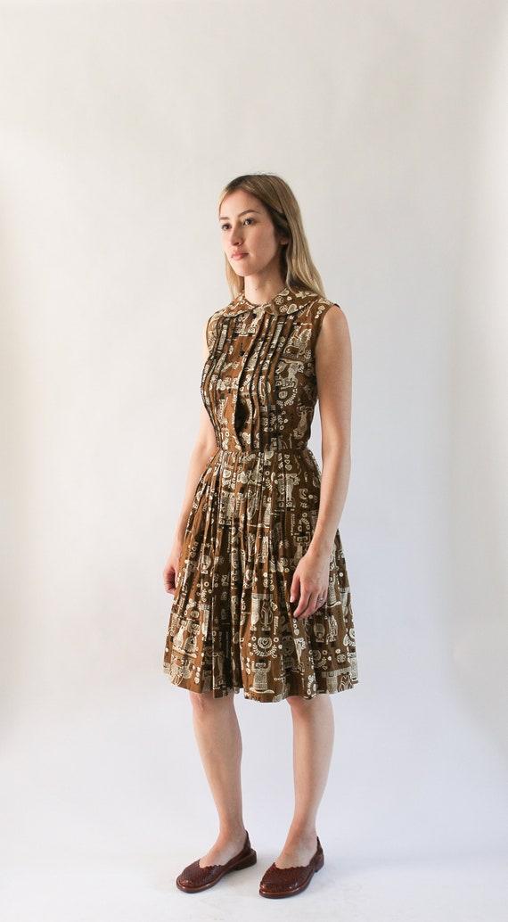 Vintage 1960s Novelty Print Dress   50s Peter Pan