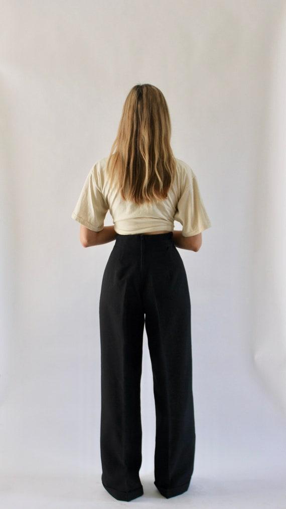 Vintage 1970s Black Wide Leg Pants 23.5   High Wa… - image 4