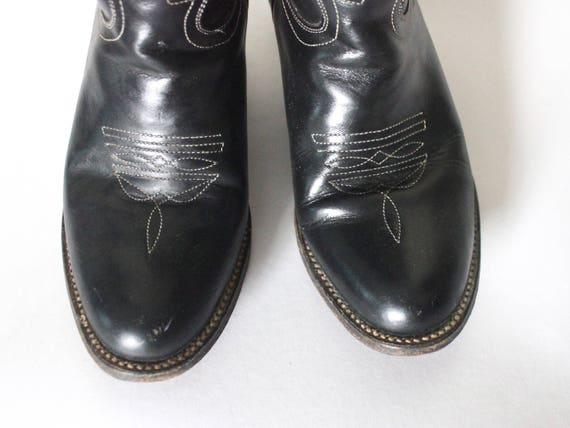 Vintage 1980s Cowboy Boots   Black Cowboy Boots  … - image 7