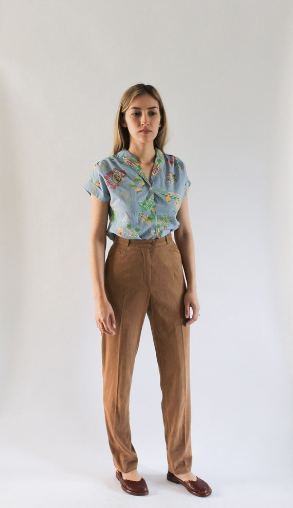 Vintage 1990s Faux Suede Pants 24 | Vintage Brown