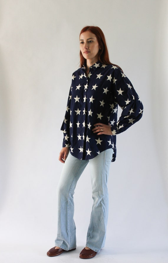 Vintage 1990s USA Shirt | Star Top | Star Button u