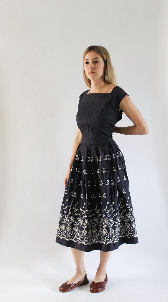 Vintage 1950s Navy Blue Dress | 50s Full Skirt Dre