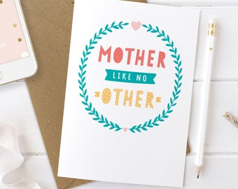 Mothers Day Card, Mother Like No Other, Step Mum Card, Best Mom Card, Mum Card, Best Mum Card, Birthday Card for Mum, Mum Birthday Card