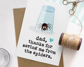 Funny Dad Card, Funny Fathers Day Card, Funny Birthday Card for Dad, Unique Dad Card, Spider Dad Card, Spider Card, Father Card, Funny Cards