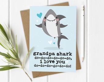 Grandpa Shark Card, Baby Shark, Funny Grandad Birthday Card, Funny Father's Day Card, Love You Grandad Card