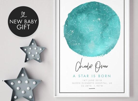 New Baby Print Gift Boy Girl Night Sky Star Chart