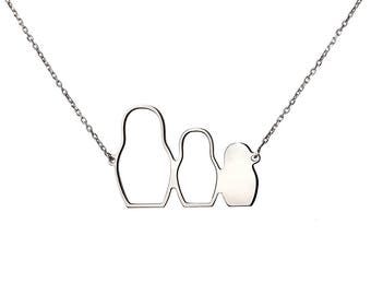 Sterling Silver Matryoshka Be Different Necklace