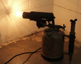 Upcycled Antique Brass Blow Torch Lamp