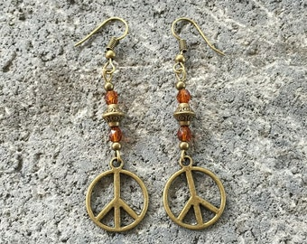 Earrings - Peace Symbol - Autumn - Bronze - Boho - Hippie - Folk - Nature