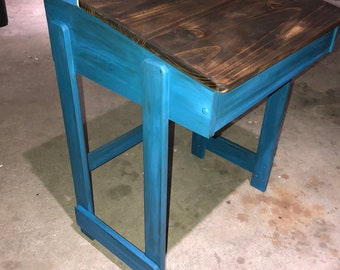Two Tone Handpainted Distressed Desk
