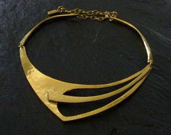 Adjustable necklace, silver or gold, handcrafted Tin