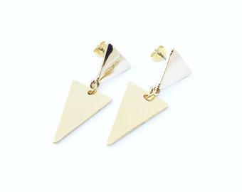 Doubles Triangles Boucles d Oreilles ( Or Rose   Argent )   Minimalist  Geometrique Boucle d Oreille Dorée Argentée   Pour Elle   Idée Cadeau 62498ca7087