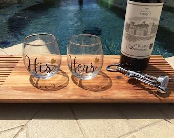 Custom Couple's stemless wine glasses, fun wine glasses, personalized wine glass, custom wine glass, customized stemless wine glasses