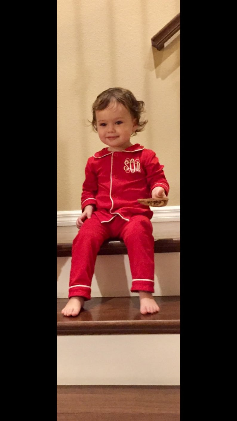 087c897a14 Toddler Monogrammed Christmas Pajamas Family Christmas