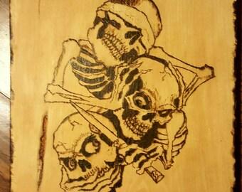 See,Hear,Speak No Evil Wood Burnt Skulls...