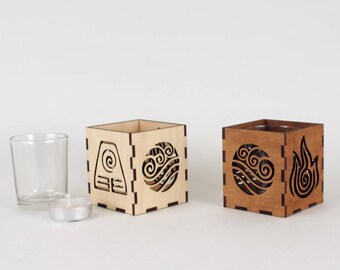 Wooden Tea Light / Votive Candle Holder With Glass insert - Earth, Water, Fire and Air