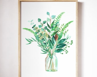 Greenery in the jar/Watercolor poster/Greenery art print/Plant watercolor/Floral art print/Wall art/Watercolor bouquet/Green leaves/Botanic