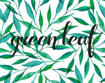 Green leaf hand drawn pattern