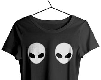 9ec795fd2 Alien Boobs Shirt Deep Neck Loose Fit, Grunge Aesthetic Tops , Tumblr Style  T-shirt Alien Shirt, Soft Loose fit tee Worldwide shipping