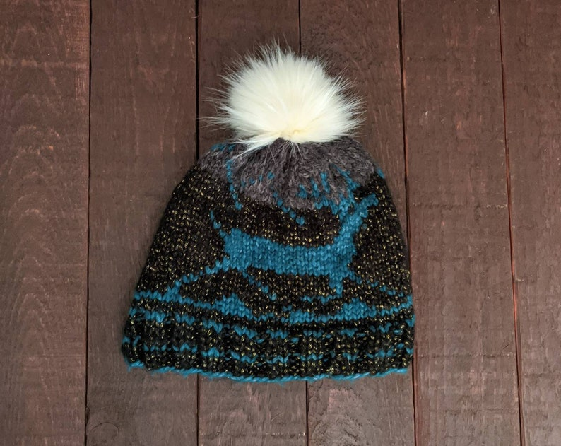 Winter Toque With Removable Faux Fur Pompom Selbu Pattern Fair Isle Knit Beanie Prancing Reindeer Hat Made in Canada