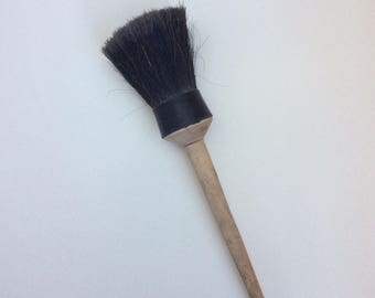 Unused vintage large paint brush, Beige wooden handle and black horse hair, Retro whitewash tool, Soviet New old stock