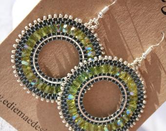 97f7db415 Beaded Earrings | Hoop Earrings | Jewellery | Dangly Earrings | Emerald |  Birthday Gift | Summer Accessory | Party Earrings | Wedding