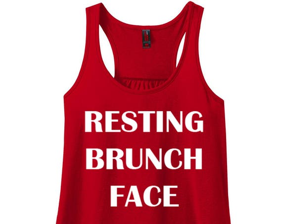 Resting Brunch Face, Women's Racerback Tank Top in 9 Colors in Sizes Small-4X, Plus Size, Plus Size Clothing