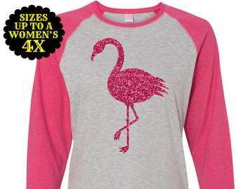 Flamingo Shirt, Women's Baseball Raglan Shirt, Flamingo Top, Plus Size Flamingo, Plus Size Shirt, Plus Size Clothing, Plus Size T Shirt