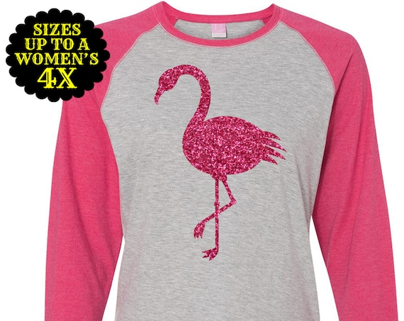 Flamingo Shirt, Women's Baseball Raglan Shirt, Flamingo Top, Plus Size Flamingo, Plus Size Shirt, Plus Size Clothing, Plus Size T Shirt
