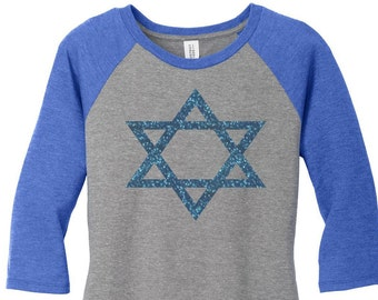 Star of David, Blue Glitter, Hanukkah, Chanukah, Jewish Holiday, Womens Baseball Raglan Top Shirt in 5 colors, Sizes Small-4X, Plus Size