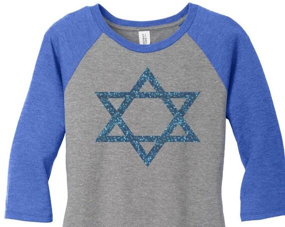 Star of David, Blue Glitter, Hanukkah, Chanukah, Jewish Holiday, Womens Baseball Raglan Top Shirt in 5 colors, Sizes Small-4X, Plus Size
