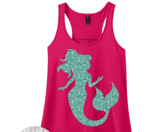 Mermaid, Beach, Summer, Women's Racerback Tank Top in 9 Colors in Sizes Small-4X, Plus Size, Plus Size Clothing