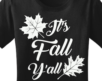 It's Fall Y'all Leaf Women's Graphic T-shirt in 7 Different Colors in Sizes Small-4X, Plus Size