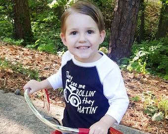They See Me Rollin' They Hatin', Tricycle, Toddler Baseball Raglan, Humorous Toddler Shirt, Clothing Kids Baby Shirt, Hip Hop Hipster Bike