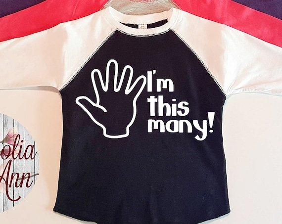 I'm This Many, 5 Years Old, 5th Birthday, Toddler Baseball Raglan T-shirt in 6 Colors in Sizes 2T-5/6