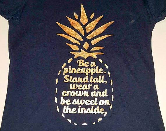 Be a Pineapple, Stand Tall, Wear a Crown, and be Sweet on the Inside, Little Girls Fine Jersey V-Neck T-shirt in Sizes XS-Xl in 14 Colors