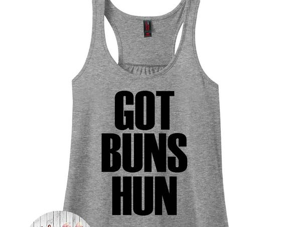 Got Buns Hun, Gym, Workout, Women's Racerback Tank Top in 9 Colors in Sizes Small-4X, Plus Size, Plus Size Clothing