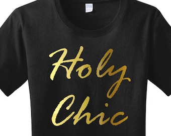 Holy Chic Gold Metallic Graphic Women's T-shirt in 7 Colors in Sizes Small-4X, Plus Size