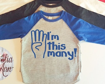 I'm This Many, 4 Years Old, 4th Birthday, Toddler Baseball Raglan T-shirt in 6 Colors in Sizes 2T-5/6