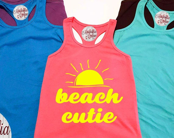 Beach Cutie, Baby, Toddler, Little Girls Racerback Tank Top, Baby Tank Top, Baby Beach Tank Top, Toddler Tank Top, Summer Tank Top, Baby Top