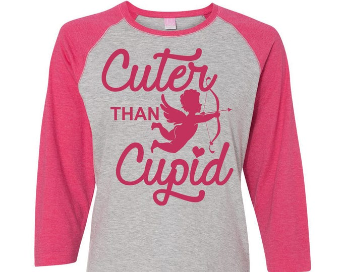 Featured listing image: Cuter Than Cupid Toddler Baseball Raglan T-shirt, Valentines Day Shirt, Kids Valentines Day Shirt, Toddler Valentines Shirt, Toddler Tee