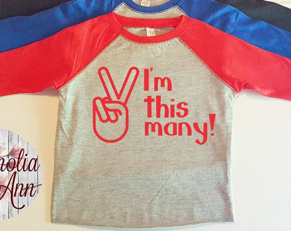 I'm This Many, 2 Years Old, 2nd Birthday, Toddler Baseball Raglan T-shirt in 6 Colors in Sizes 2T-5/6