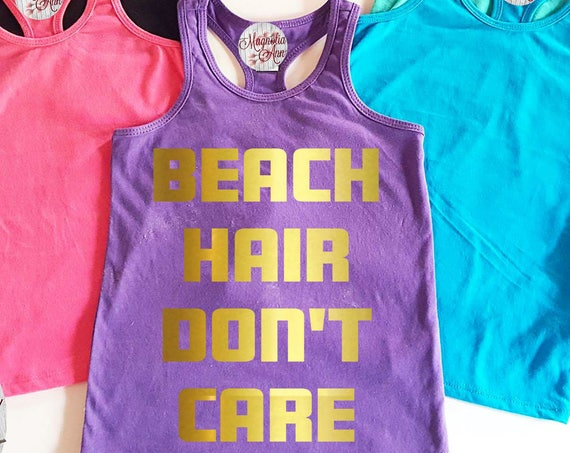 Beach Hair Don't Care Little Girls Racerback Tank Top, Baby Tank Top, Baby Beach Tank Top, Toddler Tank Top, Summer Tank Top, Beach Tank Top