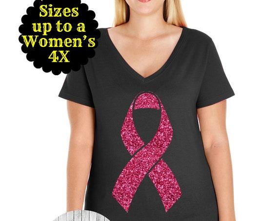 Cancer Awareness Shirt, Breast Cancer Ribbon Shirt, Cancer Ribbon Shirt, Awareness Ribbon Shirt, Plus Size Cancer Shirt, Plus Size Clothing