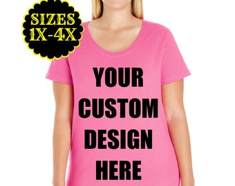 Create Your Own Design, Plus Size Scoop Neck T-shirt, Plus Size Clothing, Plus Size Tops, Curvy Tee, Plus Size Tshirt, Personalized Shirt